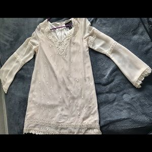 Long sleeve mini dress Women's Large-off white